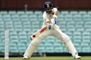 Virat Kohli plays a shot on the second day of the tour match against Cricket Australia XI at the SCG.