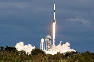 A SpaceX Falcon 9 rocket launches carrying a Qatari communications satellite, which will provide connectivity to Qatar and neighbouring parts of the Middle East, North Africa, and Europe, from historic Launch Pad 39A at the Kennedy Space Center in Cape Canaveral, Florida, U.S.