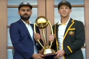 India vs Aus: Virat Kohli,Tim Paine pose with Border-Gavaskar trophy