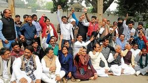 RJD supporters staging a demonstration in front of the official residence of leader of opposition Tejashwi Prasad Yadav, in Patna on Wednesday