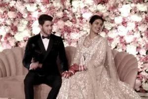 Priyanka Chopra and Nick Jonas at their wedding reception in New Delhi on December 4, 2018.