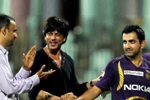 File image of Kolkata Knight Riders owner Shah Rukh Khan (centre) with Gautam Gambhir.