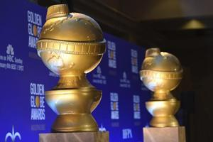 Golden Globe statues appear on stage prior to the nominations for the 76th Annual Golden Globe Awards at the Beverly Hilton hotel on Thursday.