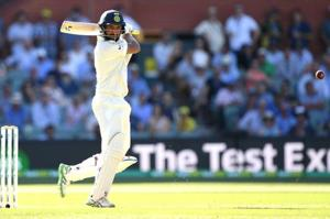 Cheteshwar Pujara plays a shot during his knock of 123 on the opening day of the first Test at the Adelaide Oval.