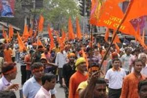 The procession comprising trucks, SUVs and motorcycles was taken out on the eve of the Babri Masjid demolition anniversary