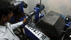 High Security Registration Plate project being manufactured in a unit in Delhi. According to government notification issued on December 6, 2018, car manufacturers will have to fix high-security registration plates at point of sale.