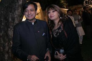 Sunanda Pushkar Tharoor and Shashi Tharoor at Jatin Prasad's wedding reception on February 17, 2010 in New Delhi.