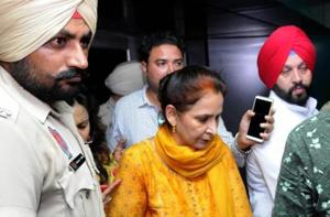 Amritsar: Navjot Kaur Sidhu, wife of Punjab minister of Tourism, Cultural Affairs coming out of a hospital after enquiring about the well being of victims of the Dussehra tragedy in Amritsar  (PTI File Photo)