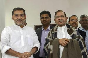 Union minister and Rashtriya Lok Samta Party (RLSP) chief Upendra Kushwaha with expelled JD(U) leader Sharad Yadav in New Delhi.