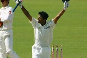 Rahul Dravid celebrates after hitting the winning run to give India a four wicket victory in the 2nd Test between Australia and India at the Adelaide Oval on December 16, 2003 in Adelaide, Australia. (Photo by Tony Lewis/Getty Images)