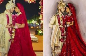 Priyanka Chopra was a sight to behold in her Sabyasachi lehenga, as she married Nick Jonas. An illustration inspired by the couple's wedding look by Ukraine-based artist Martha Oborska. (Instagram/ Priyanka Chopra and Martha Oborska)