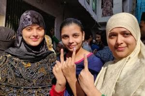 Women in Jaipur after casting their votes on Friday for Rajasthan Assembly elections.