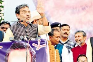 Union minister and RLSPleader Upendra Kushwaha addressing a rally at Motihari, Bihar, on Thursday, December 6, 2018.