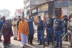 Security men remained on high alert in Ayodhya on Thursday, the 26th anniversary of Babri mosque demolition.