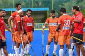 Bengaluru: Indian Hockey players with their Coach Harendra Singh during a practice session ahead of Asian Games 2018, in Bengaluru on Friday, Aug 3, 2018.