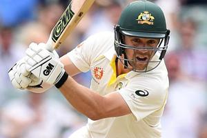 Travis Head plays a shot on day two of the first test match between Australia and India.
