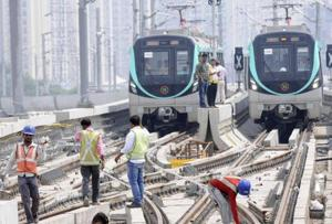 File photo of construction work atthe Noida-Greater Noida Metro Link which is expected to open to the public soon.