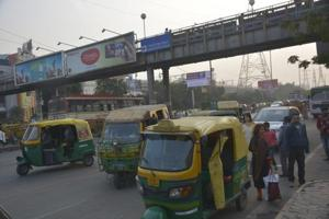 A view of Vaishali metro station, in Ghaziabad, India, on Thursday, December 06, 2018. The Ghaziabad police will start a special drive to get rid of encroachments in the Vaishali metro station.