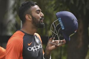 KL prepares to bats during a practice session ahead of their second test match against West Indies in Hyderabad.