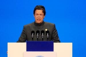 Pakistani Prime Minister Imran Khan speaks at the opening ceremony for the first China International Import Expo (CIIE) in Shanghai, China.