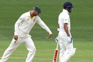Nathan Lyon was seen practising a forward defence right behind Virat Kohli during day three of the first Test between India and Australia.