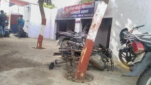 The police chowki which was attacked by the mob in Monday's violent protests over alleged cow slaughter, in Bulandshahr.