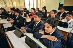 A class at Delhi Public School, Faridabad. The school has successfully implemented tablet-based learning and says it has been able to reduce the weight of bags by 70%.