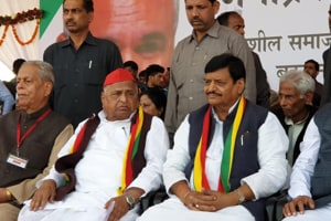 Samajwadi Party leader Mulayam Singh surprised all by arriving for the rally organised by party rebel and younger brother Shivpal Yadav, who recently floated the Samajwadi Secular Morcha (SSM).