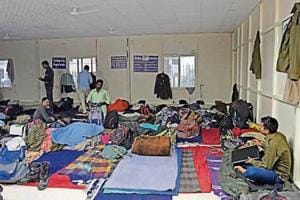 The RAF personnel were put up at a Sarai Kale Khan shelter where homeless people from neighbouring night shelter homes were sharing their amenities with them.