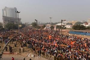 Thousands of people gathered at Ramlila Maidan for the Vishwa Hindu Parishad rally, which comes ahead of Parliament's winter session commencing Tuesday.