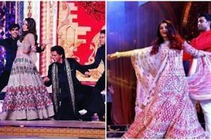 Gauri Khan and Shah Rukh Khan, Abhishek Bachchan and Aishwarya Rai at the wedding sangeet of Isha Ambani.