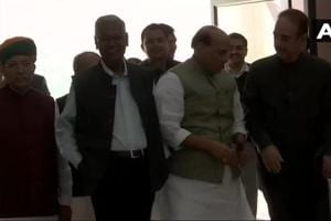 Home Minister Rajnath Singh, Congress leaders Ghulam Nabi Azad, Mallikarjun Kharge and CPI leader D Raja arrive for the all party meeting.