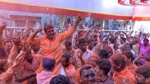 Shiv Sena workers celebrate their victory in Ahmednagar.