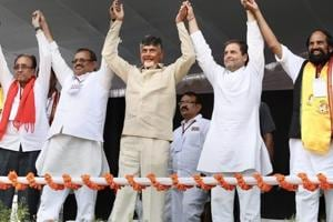 "Telangana assembly elections 2018"" Congress President Rahul Gandhi with Andhra Pradesh Chief Minister N Chandrababu Naidu during a public meeting in poll-bound Telangana state."
