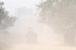 A polluted stretch in Noida's Sector 168 on Sunday.