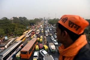 A view of massive traffic jam at ITO due to Vishwa Hindu Parishad's (VHP) rally on Ram temple issue,  New Delhi,  on Sunday, December 9, 2018.