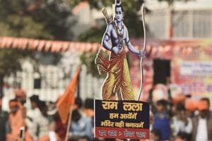 Supporters of the Vishva Hindu Parishad (VHP) attend a VHP  rally at Ramlila Ground to press their demand for the construction of Ram Temple in Ayodhya.