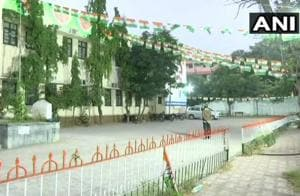 Congress Office in Hyderabad. Counting of votes for the state assembly elections begaat 8 am today.