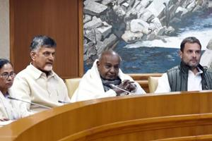 Congress President Rahul Gandhi, UPA chairperson Sonia Gandhi, former prime minister HD Deve Gowda, Andhra Pradesh Chief Minister N Chandrababu Naidu, West Bengal Chief Minister Mamata Banerjee attend a meeting of opposition parties at Parliament House Annexe in New Delhi, India, on Monday, December 10, 2018.