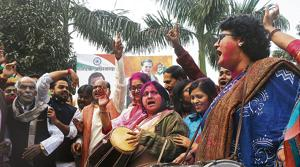 Congress leaders and supporters celebrating after their party good performance in the five state assembly poll in Patna, India, on Tuesday
