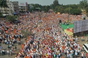 Lingayat community gather for protest march demanding separate Lingayat religion at Sangli.