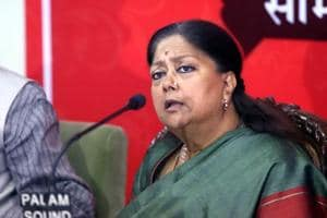 Rajasthan chief minister Vasundhara Raje interacts with media persons on February12.