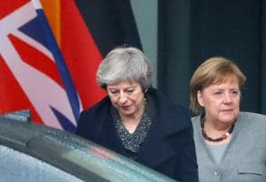 British Prime Minister Theresa May leaves after a meeting with German Chancellor Angela Merkel at the Chancellery in Berlin, Germany December 11, 2018. REUTERS/Fabrizio Bensch