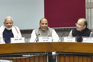 Prime Minister Narendra Modi, Union Home Minister Rajnath Singh, Finance Minister Arun Jaitley, MoS Parliamentary Affairs Vijay Goel, Union Minister Narendra Singh Tomar and Congress Party leader Ghulam Nabi Azad at an all-party meeting, ahead of the Winter Session of Assembly, in New Delhi, Monday, Dec.10, 2018.