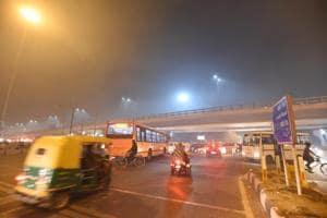 New Delhi, India- Dec 10, 2018: A view of smog and foggy weather at Lodhi Road in New Delhi, India on Monday, December 10, 2018.