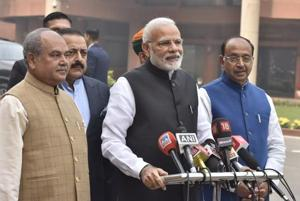 Prime Minister Narendra Modi along with his Cabinet Ministers addresses the media during the first day of Parliament Winter Session in New Delhi, India on Tuesday, December 11, 2018.