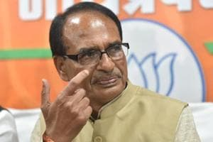 Outgoing chief minister Shivraj Singh chouhan addressing press conference at state BJP office in Bhopal.