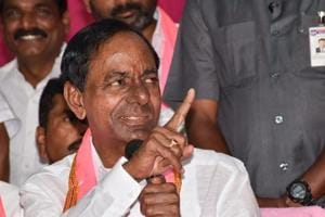TRS leader K Chandrashekar Rao addresses the media after the party