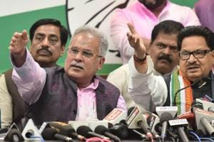 Chhattisgarh Pradesh Congress President Bhupesh Baghel (left) with Congress leader P L Punia meets the press after the victory in Chhattisgarh Assembly election in Raipur,  on Tuesday, December 11, 2018.