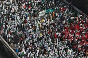 A protest rally by farmers in New Delhi last month.